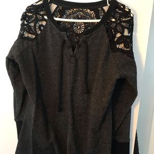 Maurices lace cut-out sleeve sweatshirt